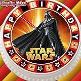 Vorgeschnittener, essbarer Zuckerguss-Tortenaufleger, 19,1cm rund, Design: Star Wars mit Happy-Birthday-Rand