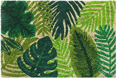 Entryways Tropische Blätter Rutschfeste Coir Fußmatte, Kokosfaser, grün 40 cm x 60 cm x 15 mm