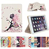 AnNengJing ® for iPad Mini1/2/3 PU Leather Smart Cover Case with Sleep/Wake-up Function丨Colorful Painted Pattern Cover丨Flip Case with Stand Set 丨Multi-Color for your choice (Butterfly and Girl)