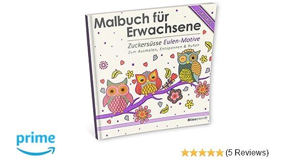 Malbuch für Erwachsene: Zuckersüsse Eulen-Motive Ausmalen ...