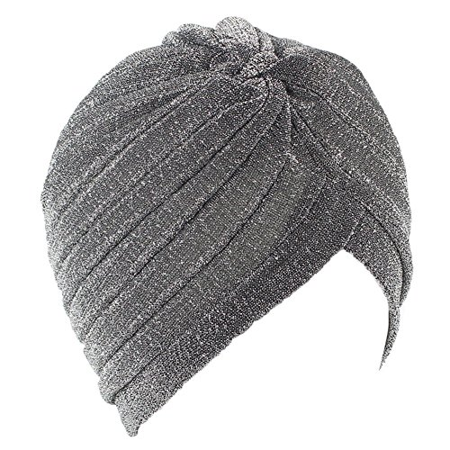 Women's Perfect Fit Pleated Glittered Turban Hat Head Wear