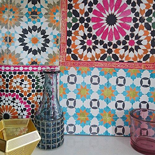 Marrakesh Reclaimed Mosaic Patterned Tile Effect Wallpaper in Pink, Orange, Green & Blue (Full Roll)