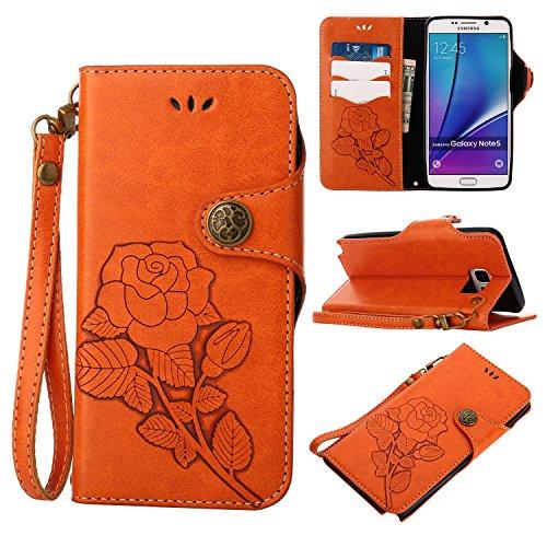 Samsung Galaxy Note 5 Hülle, Galaxy Note 5 Schutzhülle, Alfort Retro PU Leder Hülle Cover Wallet Case für Samsung Note 5 5.7