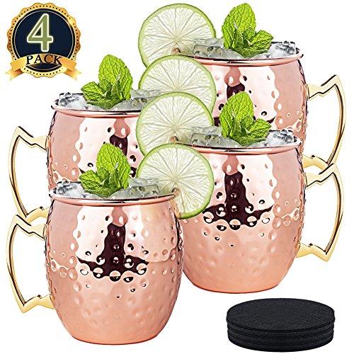 LIVEHITOP 4 Stück Moscow Mule Kupfer Becher Set, 18 oz Handgemacht Cocktail Tasse for Cold Kaltes Getränk, Wein, Bar, Party, Geschenkset, with 4 Untersetzer 1 Bier Flaschenöffner (Pack of 4)