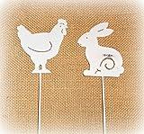 Dekostecker 'Hase und Huhn' aus Metall weiß 2er-Set