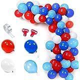 SPECOOL Globos Blancos y Azules Rojos Azul Claro Globo Kit de Guirnalda 100 Globos Arco de 16 Pies Raya Cinta 2 Piezas Herram
