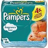 Pampers naturel propre parfum Lingettes bébé gratuit (64 par paquet x 4) - Paquet de 2