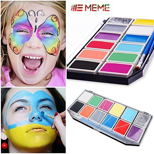 Face Painting ,Meme Body Paint Set Professional Face Paint Palette For Kids & Adults 12 Colours: 2 Brushes, Stencils,Scar Tattoos ,Face Paint Guide Demos by