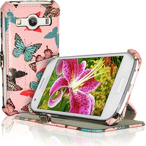 iGadgitz U3540 Folio Farfalla Disegno PU Pelle Custodia Case Cover per Samsung Galaxy Ace 4 SM-GT357FZ con Pellicola