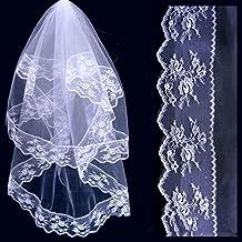 HuntGold 1 X Elegante Romántico 2 capas de encaje Edge Catedral boda novia novia codo velo con peine (Blanco)