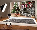 YongFoto 2,2x1,5m Foto Hintergrund Weihnachten Vinyl Weihnachtsbaumschmuck Geschenke Steinkamin Strümpfe Innere Fotografie Hintergrund Foto Leinwand Kinder Fotostudio 7x5ft
