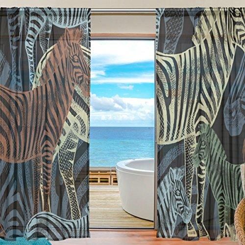 yibaihe Fenster Vorhänge, Gardinen Platten Fenster Behandlung Set Voile Drapes Tüll Vorhänge Afrikanische Tiere Zebra 139,7cm W x 198,1cm L 2Einsätze für Wohnzimmer Schlafzimmer Girl 's Room, Textil, multi, 55