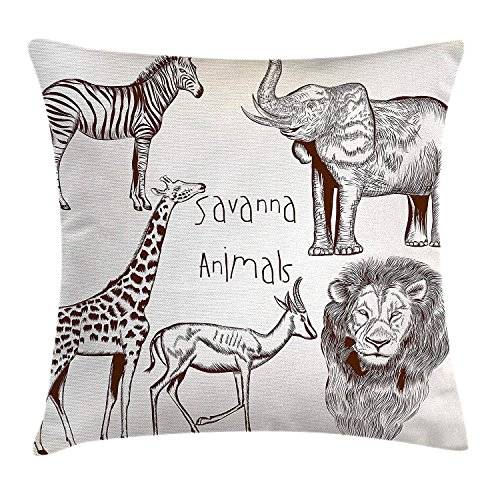 hat pillow Safari Case Collection of Tropic African Asian Wild Savannah Animals Lion Giraffe Zebra Graphic 18 X 18 inches -