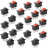 CESFONJER 20 stuks mini-tuimelschakelaar, ON/Off tuimelschakelaar, 3-pins AC 6A -10A, 125V -250V voor auto boot huishoudelijk