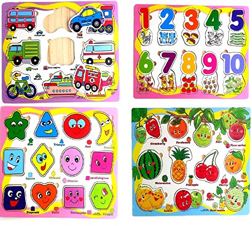Wishkey Wooden Colorful Learning Educational Puzzle Set of 4