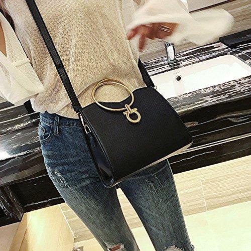 Borsa borsa piccola, donna moda nappa borsetta interno scompartimento borsa tote signore borsa piccola borsa by Kangrunmy Nero