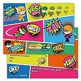12 Lustige Einladungskarten im Set für Kindergeburtstag Party mit Superhelden für Jungen Mädchen Kinder Top Geburtstagseinladungen Karten witzig