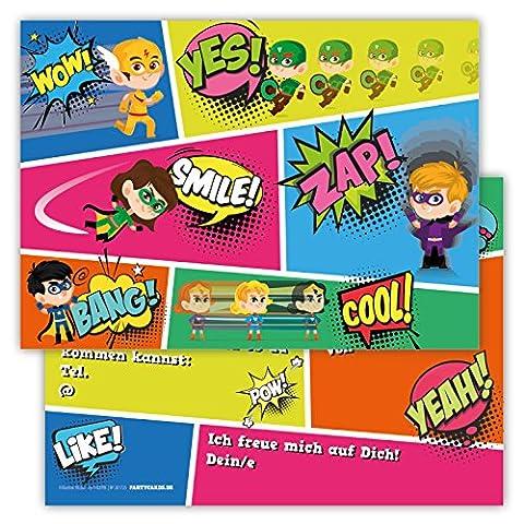 12 Lustige Einladungskarten im Set für Kindergeburtstag Party mit Superhelden für Jungen Mädchen Kinder Top Geburtstagseinladungen Karten