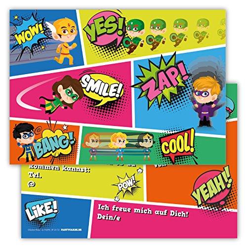 12 Lustige Einladungskarten im Set für Kindergeburtstag Party mit Superhelden für Jungen Mädchen Kinder Top Geburtstagseinladungen Karten witzig (Herren Superheld Kostüm T Shirts)