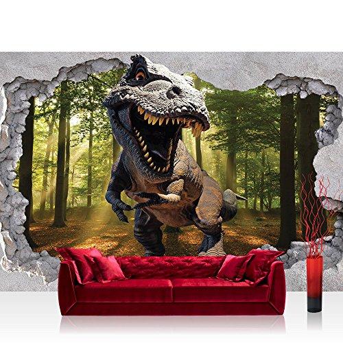 Vlies Fototapete 152.5x104 cm PREMIUM PLUS Wand Foto Tapete Wand Bild Vliestapete - Sonstiges Tapete Loch Kunst Mauer Dinosaurier Sonne Blick Ausblick Wald Baum 3D grün - no. 4332
