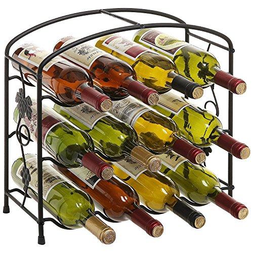 Modernes Grapevine Design Schwarz Freistehend Metall 12Flasche Wein Ablage Rack/3-stöckig Wein Halter (Flasche 12 Weinkeller)