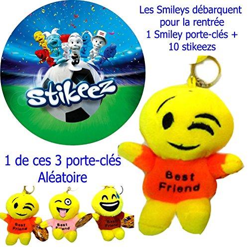 S1/I portachiavi Smiley Emoticon sorridente arriva per la scuola, 1Smiley + 10stikeezs dell' euro 2016(Nessun doppio)