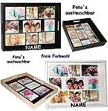 XL Tablett -  Eigene Fotos & Bilder  - aus Holz - Weiß - Incl. Name - Auch z..