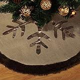 Valery Madelyn 90cm Christbaumständer Weihnachtsbaumdecke aus Sackleinen zum Landhausstil, Christbaumdecke verbrämt mit Kunstpelz, Themen mit Deko (nicht inkl.)