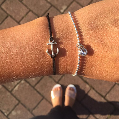Anker Armband Silber Schwarz – Größenverstellbares Makramee Armband HANDMADE