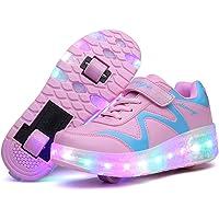Unisex Bambino LED Scarpe con Rotelle Ricarica USB Lampeggiante Luminosi Formatori Doppia Ruote Pattini a Rotelle Scarpe…