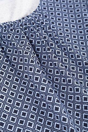 Ulla Popken Damen große Größen bis 62/64 | Shirt mit Muster und Raffung | T-Shirt im Rundhalsasusschnitt, Halbarm | A-Linie | 703463 Himmelblau