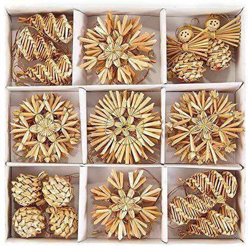 HEITMANN DECO Weihnachtsbaumschmuck aus Stroh - Weihnachtsdeko Baumbehang - 32-TLG. Set - Christbaum Anhänger Weihnachtsdekoration