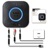 [Nuevo] 1Mii Receptor Bluetooth 5.0, Adaptador Audio Bluetooth Hi-Fi para Altavoz con AUX 3.5 mm Jack/RCA, Receptor de Audio