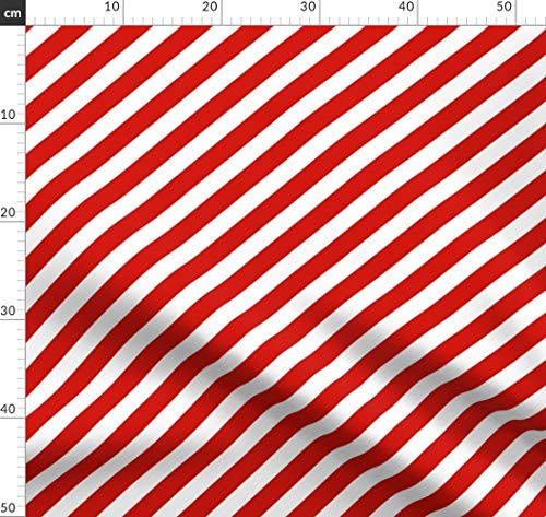 Rot Und Weiß, Weihnachten, Weihnachtsstoff, Streifen, Diagonale Streifen Stoffe - Individuell Bedruckt von Spoonflower - Design von Charlottewinter Gedruckt auf Bio Musselin -