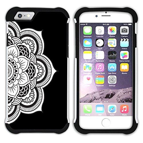 Graphic4You Mandala Blume (Wasserblau) Hart + Weiche Kratzfeste Hülle Case Schale Tasche Schutzhülle für Apple iPhone 6 Plus / 6S Plus Schwarz
