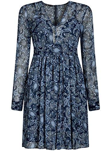 oodji Ultra Damen Chiffon-Kleid mit V-Ausschnitt Blau (7974E)
