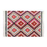 Homescapes handgewobener Kelim Teppich mit Fransen, Bunt, Manila, 90 x 150cm