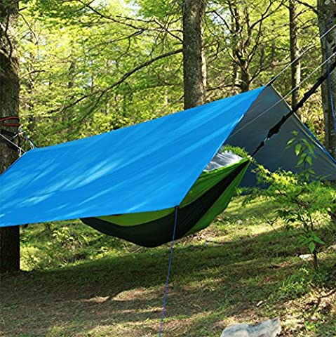 Rain Fly Tarps- Tecare Portable Tent Tarp 82×75 inch Footprint Ground Mat Picnic Blanket Shelter Sunshade with Rope and Stakes For Outdoor Hiking, Beach,Backpacking & Travel (blue, M( 82*75 inch ))