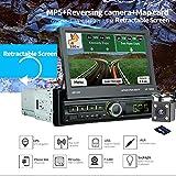 Parkomm 1Din Autoradio GPS Autoradio Bluetooth avec écran Tactile 7' GPS Navigation, Radio FM/BT/TF/USB/MP5, kit Mains Libres/7 Couleurs d'éclairage LED et Carte de recul