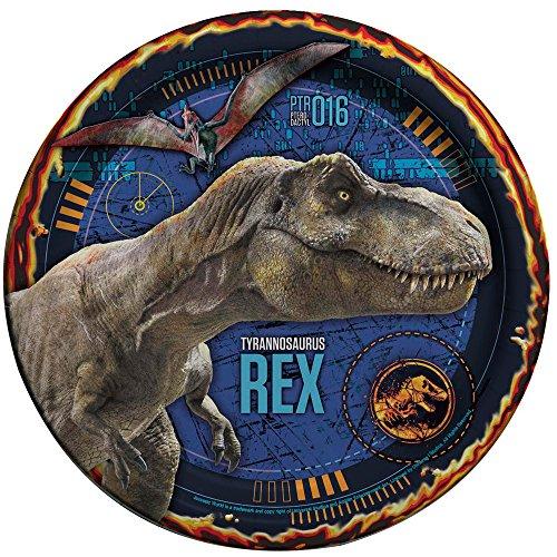 Jurassic World 8 Stück große Teller aus Pappe Dinosaurier Teller mit Motiven Tellergröße ca 21,90 cm