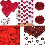 Carpeta 36-Teiliges Dekoset * Valentinstag * mit Rosenblättern, Herz-Konfetti, Pompoms, Wunderkerze und Roten Herz-Luftballons // Valentin Hochzeit Motto Party Feier Deko Liebe