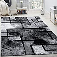 Designer Rug Modern Short-pile Abstract Paint Effect Black Grey Charcoal by Paco Home