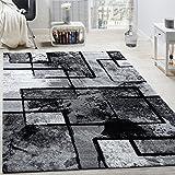 Paco Home Tapis Design Moderne Poils Ras Abstrait Peintures Effet Noir Gris Anthracite, Dimension:80x150 cm...