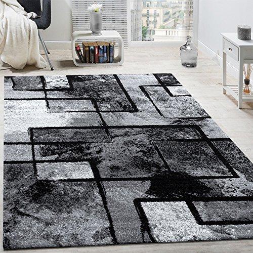Tappeto di design moderno pelo corto astratto effetto dipinto nero grigio antracite, dimensione:120x170 cm