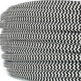 Cavo elettrico tondo rivestito in tessuto colorato per lampadari, lampade, abat jour. Il cavo elettrico diventa design! Scegli fra 30 colori. 5 Metri 2×0,75. Made in Italy! Bianco Nero