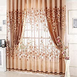 Rrimin New Elegant Sheer Window Curtain Panel Drape Floral Balcony Room Screen 1Pcs 1*2.5 m (Coffee )