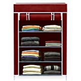 AYSIS Collapsible Wardrobe Organizer, Multipurpose Storage Rack, 4 Layer  Maroon