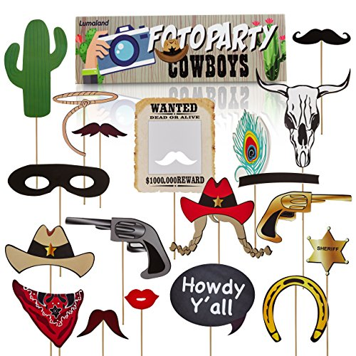 Lumaland Fotoparty Set Cowboys lustige Foto Props und Requisiten Sets mit Fotoaccessoires für verschiedene Anlässe (Photo Booth-cowboy)