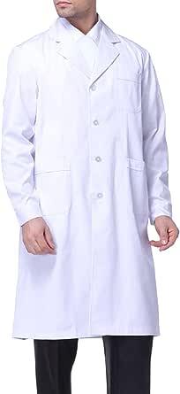 Sasairy Unisex Camice Bianco da Laboratorio in Cotone Maniche Lunghe Collare Piatto Camice da Lavoro Cappotto Medico per Medico Scienziato
