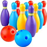 BKDT Marketing Bowling Set Game with 10 pin Bottles and 2 Balls Multi Color